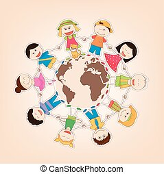 Kids Around the World - vector illustration of the kids...