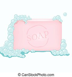 Soap - vector illustration of a soap with bubbles
