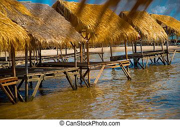 Isle., Gazebo, por, el, río, con, Un, cubierto con...