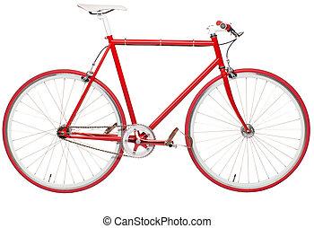 fixed bike - Fixed red city bike isolated on a white...