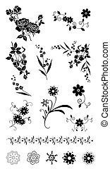 flower and plant pattern - illustration drawing of black...