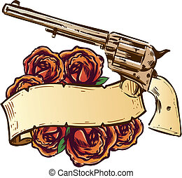 Guns and roses with banner illustration fully editable