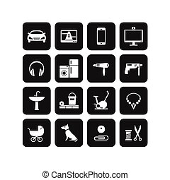 Products categories - 16 icons of different products...