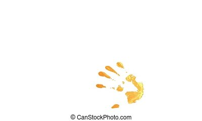 Handprints In Different Colors - On a white background were...