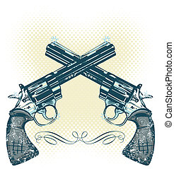 Hand guns vector illustration all parts are editable