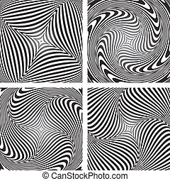 Torsion movement illusion. Set.