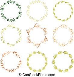 Watercolor wreaths - Set of watercolor wreaths. Hand painted...