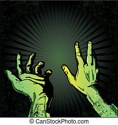 Hands in fear of the light Halloween style illustration