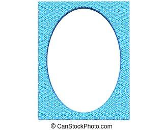 textured oval photoframe 3d render in blue