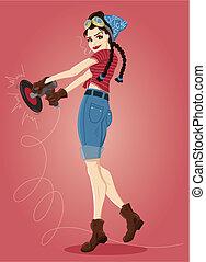 hotrod, pin-up, illustrazione