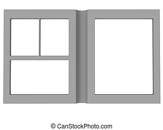 folding photoframe book render in gray - isolated folding...