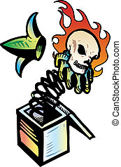 Jack in the box with flaming skull vector illustration....