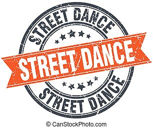 street dance round orange grungy vintage isolated stamp