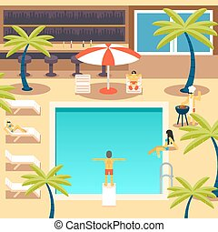 Happy People Sunny Pool Hotel Summer Vacation Tourism Journey Symbol Ocean Sea Travel Bacground Flat Design Concept Template Vector Illustration
