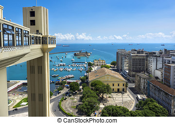 Lacerda Elevator and All Saints Bay in Salvador, Bahia,...