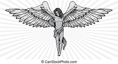Male angel in a crucifix pose vector illustration. Fully...