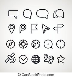 Different vector icons collection. Cartography clip-art