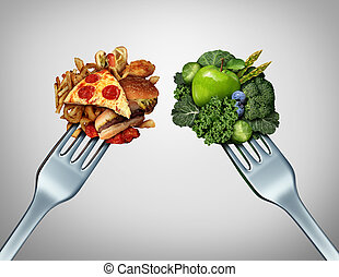 Diet Struggle - Diet struggle and decision concept and...