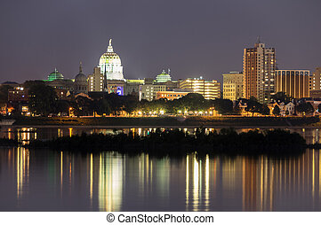 Harrisburg State Capitol - A view of Harrisburg skyline;...