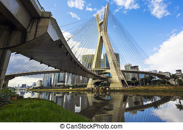 Octavio Frias de Oliveira Bridge in Sao Paulo, Brazil - The...