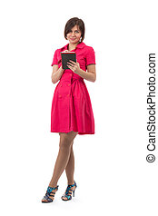 girl in a red dress with a Tablet PC