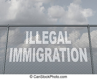 Illegal Immigration - Illegal immigration concept as a chain...