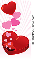 Open heart shaped box vector illustration