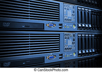Servers Stack With Disc Drives In Rack - Blue servers stack...