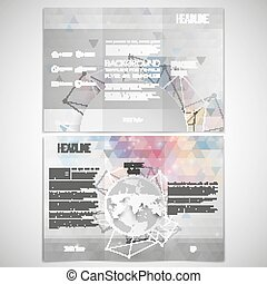 Vector set of tri-fold brochure design template on both sides with world globe element. Connection backdrop, triangle style vector illustration