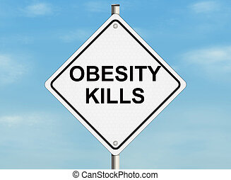 A road sign with the issue of obesity and proper weight on...