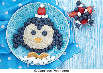 Kids breakfast porridge - Funny kids breakfast porridge with...