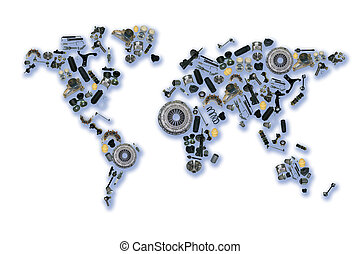 World map of the spare parts for shop auto aftermarket -...