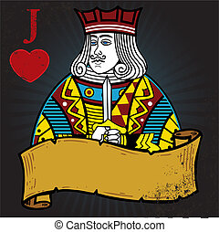 Jack of Hearts with banner tattoo style illustration