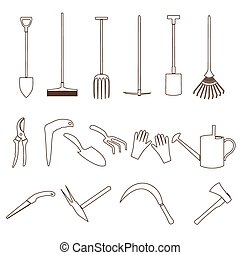 simple black outline gardening tools icons eps10