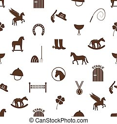 brown simple horse theme icons seamless pattern eps10