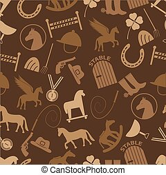 brown horse theme icons seamless pattern eps10