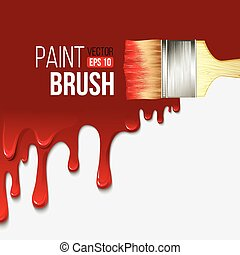 Paintbrushes with dripping paint. Vector illustration
