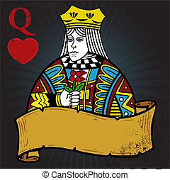 Queen of Hearts with banner tattoo style illustration. All...