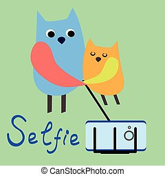 Pets selfie Funny animals on a colored background Vector...