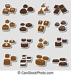 sweet chocolate truffles styles stickers set eps10