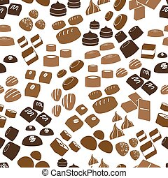sweet chocolate truffles icons seamless brown pattern eps10