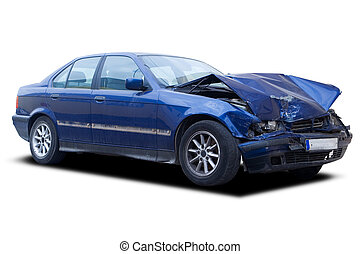 Wrecked Car - A blue wrecked car isolated on white