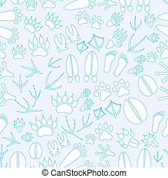 animal footprints blue and white seamless pattern eps10