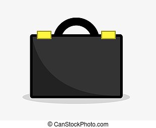 Briefcase - Black business briefcase icon illustration