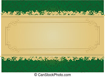 Vintage Green and Gold decorative banner vector illustration...