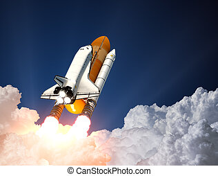 Space Shuttle Launch. 3D - Space Shuttle Over The Clouds. 3D...