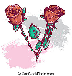 Beautiful Valentines Day Roses Vector Illustration