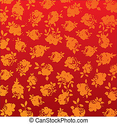 Red and gold roses background pattern vector illustration