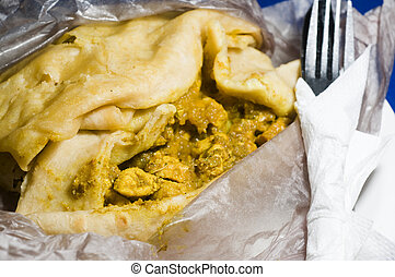 dahl pouri roti trinidad native food wrap also called bust...