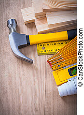 Variety of building objects for maintenance works on wooden surf